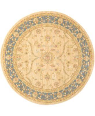 Orwyn Orw6 Beige/Blue 6' x 6' Round Area Rug