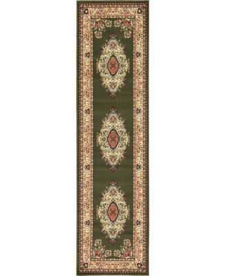 "Birsu Bir1 Green 2' 7"" x 10' Runner Area Rug"