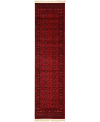 "Vivaan Viv1 Red 2' 7"" x 10' Runner Area Rug"