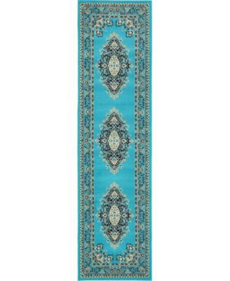 """Birsu Bir1 Turquoise 2' 7"""" x 10' Runner Area Rug"""