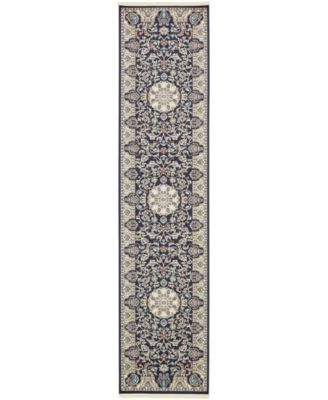 Zara Zar5 Navy Blue 3' x 13' Runner Area Rug