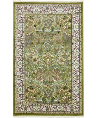 Zara Zar7 Green 5' x 8' Area Rug