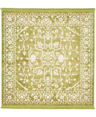 Norston Nor1 Light Green 4' x 4' Square Area Rug