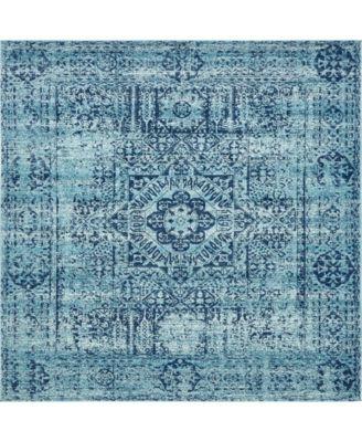 "Wisdom Wis3 Turquoise 8' 4"" x 8' 4"" Square Area Rug"