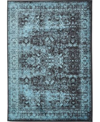 """Linport Lin1 Turquoise/Black 8' x 11' 6"""" Area Rug"""