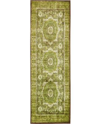 "Linport Lin7 Green 3' x 9' 10"" Runner Area Rug"