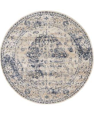 Odette Ode2 Dark Blue 4' x 4' Round Area Rug