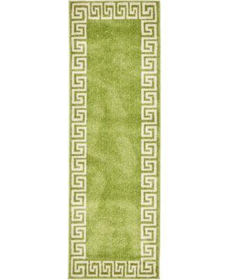Anzu Anz2 Light Green 2' x 6' Runner Area Rug