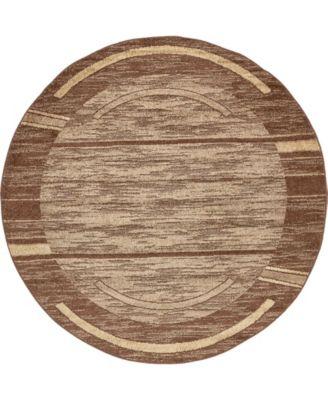 Jasia Jas11 Brown 8' x 8' Round Area Rug