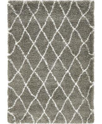 Fazil Shag Faz3 Gray 4' x 6' Area Rug