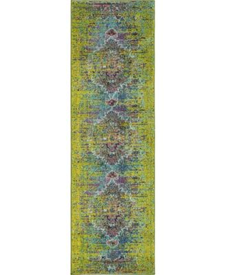 "Brio Bri6 Green 2' x 6' 7"" Runner Area Rug"