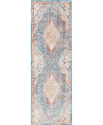 "Zilla Zil1 Blue 2' 7"" x 8' 2"" Runner Area Rug"