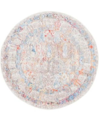 "Zilla Zil2 Ivory 3' 3"" x 3' 3"" Round Area Rug"