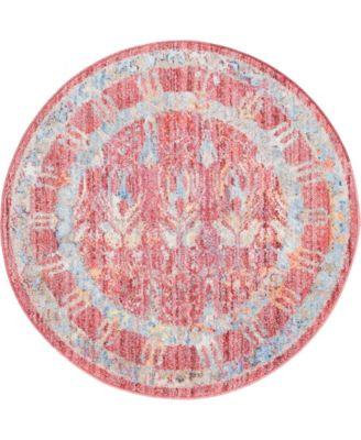 """Zilla Zil2 Red 3' 3"""" x 3' 3"""" Round Area Rug"""