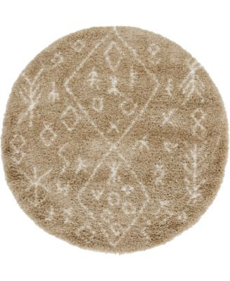 Fazil Shag Faz1 Taupe 5' x 5' Round Area Rug