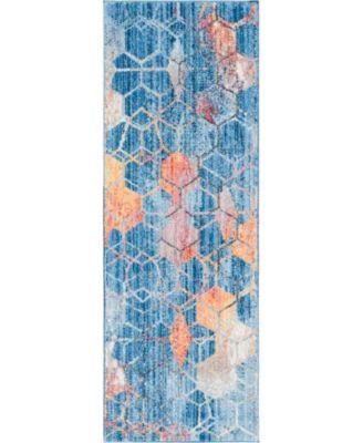 Prizem Shag Prz1 Blue 2' x 6' Runner Area Rug