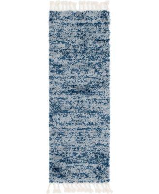 "Lochcort Shag Loc3 Blue 2' 2"" x 6' Runner Area Rug"