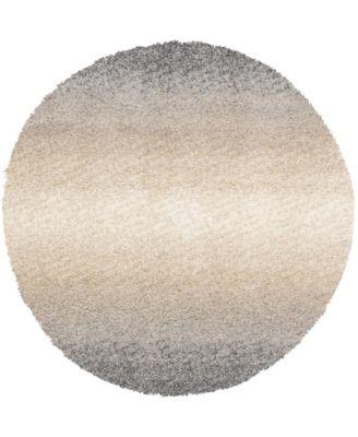 Lochcort Shag Loc5 Gray 5' x 5' Round Area Rug