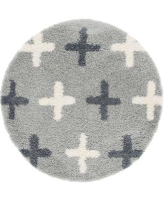 "Lochcort Shag Loc7 Light Gray 3' 3"" x 3' 3"" Round Area Rug"