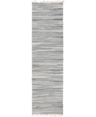 "Jari Striped Jar1 Gray 2' 7"" x 9' 10"" Runner Area Rug"