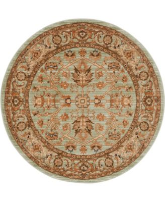 """Thule Thu1 Light Green 4' 5"""" x 4' 5"""" Round Area Rug"""