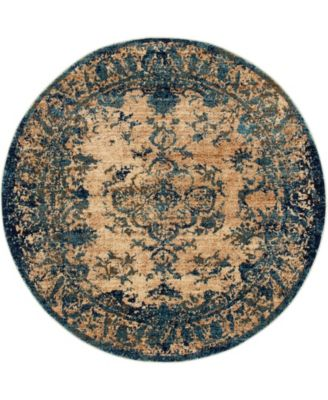 """Thule Thu3 Blue 4' 5"""" x 4' 5"""" Round Area Rug"""