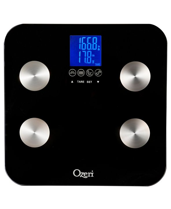 Ozeri Touch 440 lbs Total Body Fat, Muscle, Bone and Hydration Scale, with Infant Tare