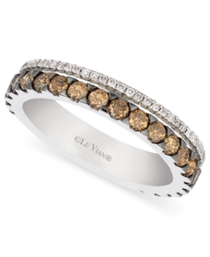 Le Vian 14k White Gold Ring, Chocolate and White Diamond 2-Row Band (1-1/10 ct. t.w.)