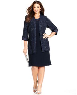 R & M Richards Plus Size Sleeveless Glitter Shift Dress and Jacket