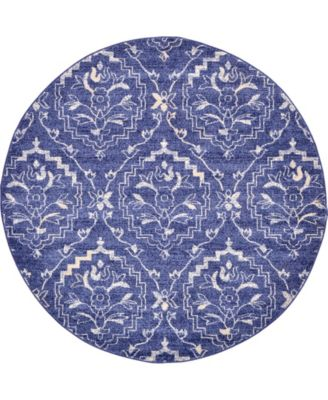 Felipe Fel1 Blue 6' x 6' Round Area Rug