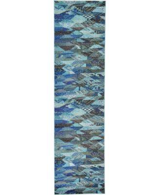 """CLOSEOUT! Arcata Arc4 Blue 2' 7"""" x 10' Runner Area Rug"""