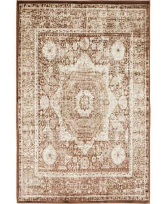 Linport Lin7 Chocolate Brown 4' x 6' Area Rug
