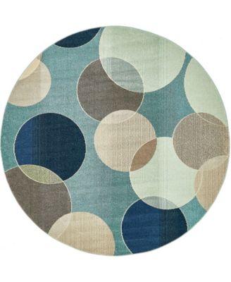 Crisanta Crs6 Blue 8' x 8' Round Area Rug