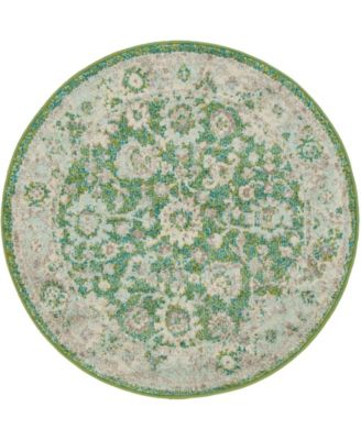 "Lorem Lor3 Green 3' 3"" x 3' 3"" Round Area Rug"