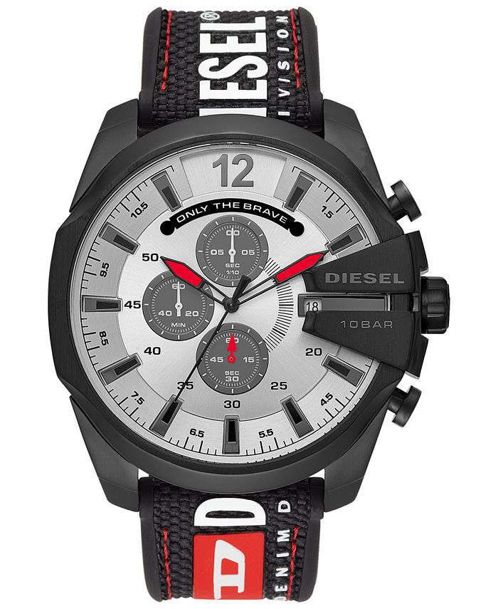 Diesel - Men's Chronograph Mega Chief Black Silicone Strap Watch 51mm