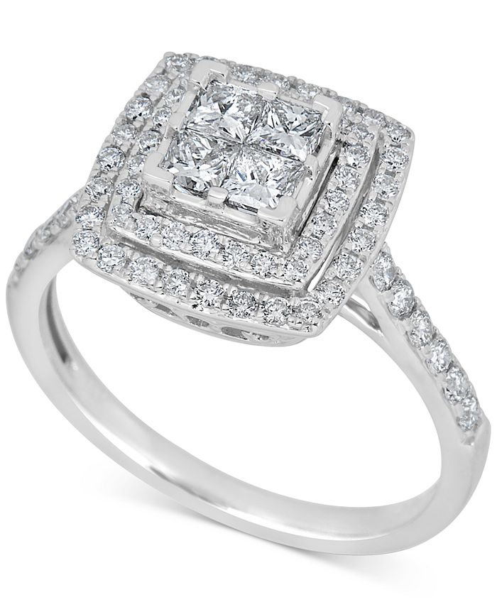 Macy's - Diamond Square Halo Engagement Ring (1 ct. t.w.) in 14k White Gold