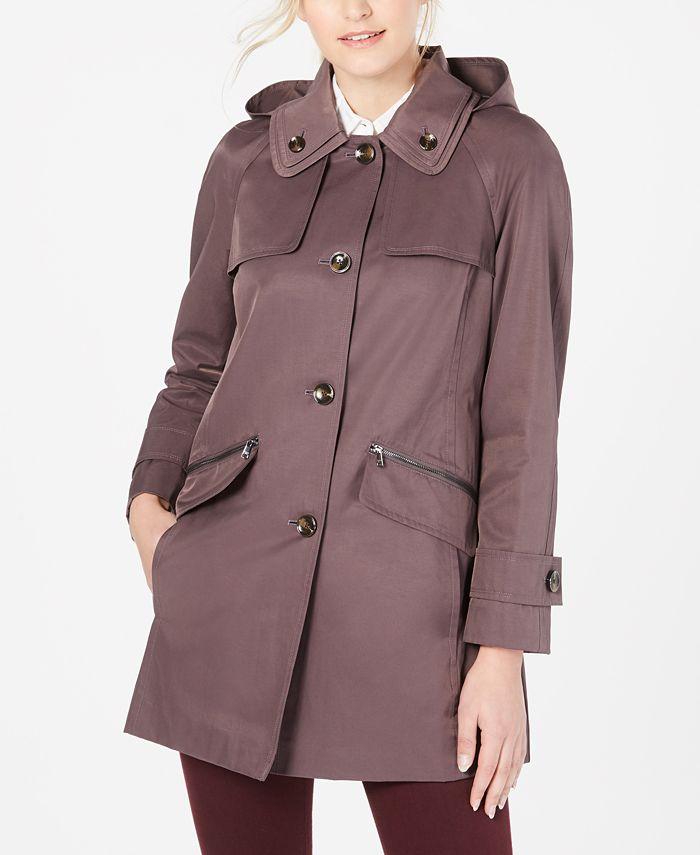 London Fog - Double-Collar Hooded Raincoat