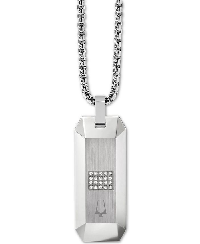 """Bulova - Men's Diamond Dog Tag Pendant Necklace (1/10 ct. t.w.) in Stainless Steel, 26"""" + 2"""" Extender"""