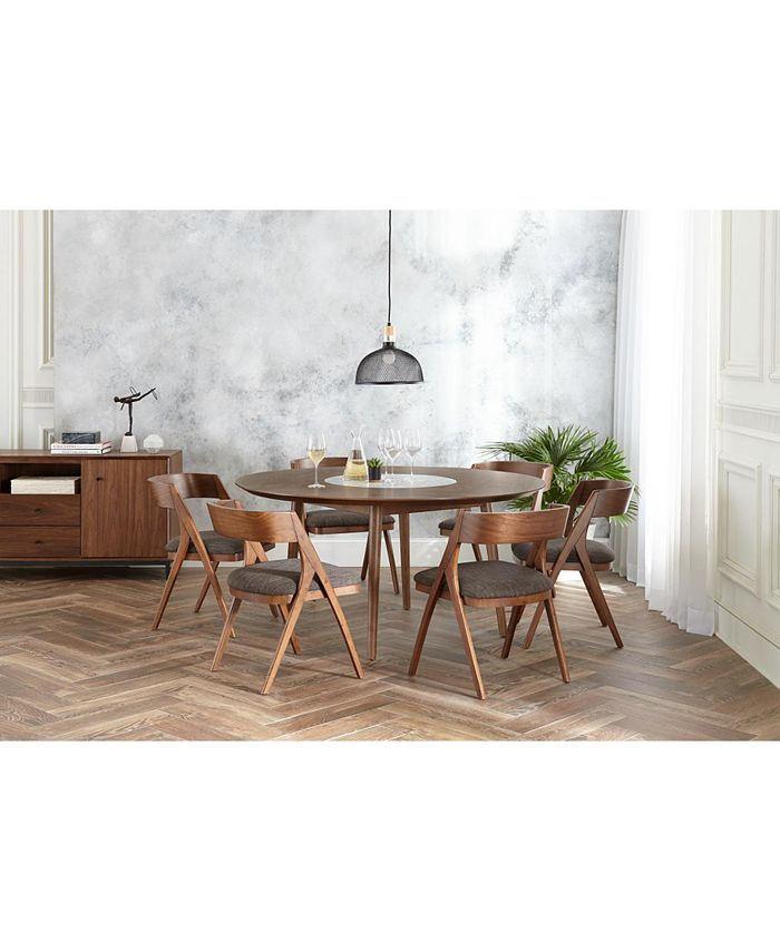 Furniture - Oslo Dining , 5-Pc. Set (Lazy Susan Table & 4 Side Chairs)