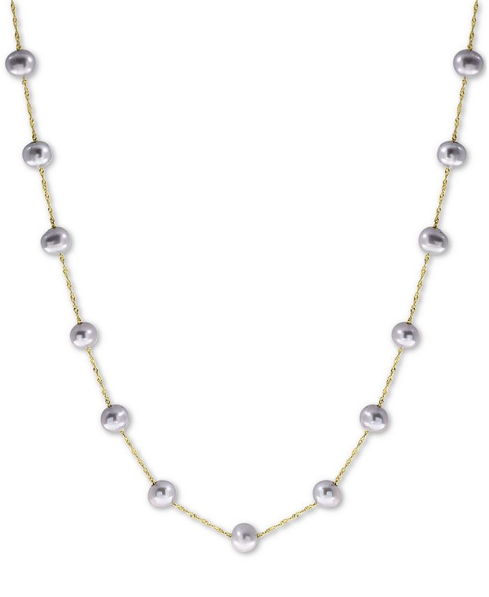"""EFFY Collection - Gray Cultured Freshwater Pearl (5-1/2mm) 18"""" Collar Necklace in 14k White Gold"""