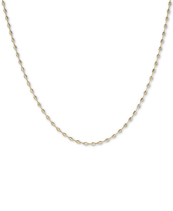 """Italian Gold 18"""" Oval Bead Chain Necklace in 14k Gold"""