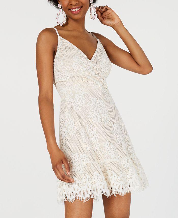 Speechless - Juniors' Lace Faux-Wrap Dress