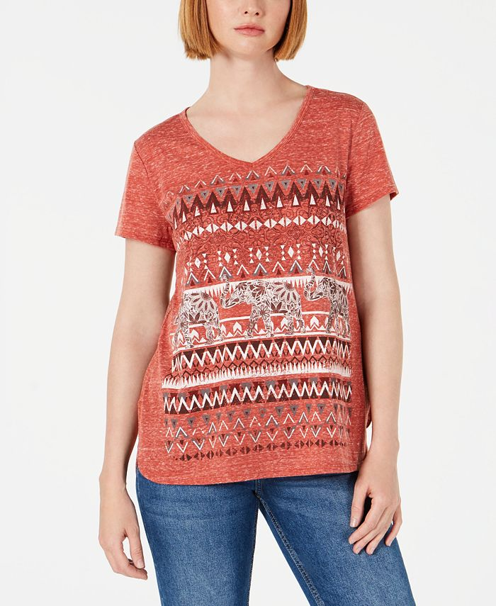 Style & Co - Graphic V-Neck Top
