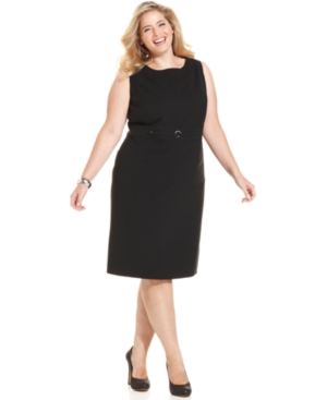 Tahari ASL Plus Size Buckle-Detail Sheath Dress