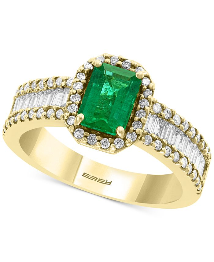EFFY Collection - EFFY® Diamond (5/8 ct. t.w.) & Emerald (9/10 ct. t.w.) Ring in 14k Yellow Gold