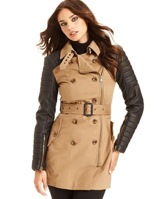 W118 by Walter Baker, Long-Sleeve Quilted Faux-Leather Trench