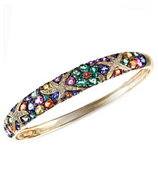 Watercolors by EFFY® Multicolor Sapphire (7-5/8 ct. t.w.) and Diamond (1/4 ct. t.w.) Starfish Bangle in 14k Gold, Created for Macy's