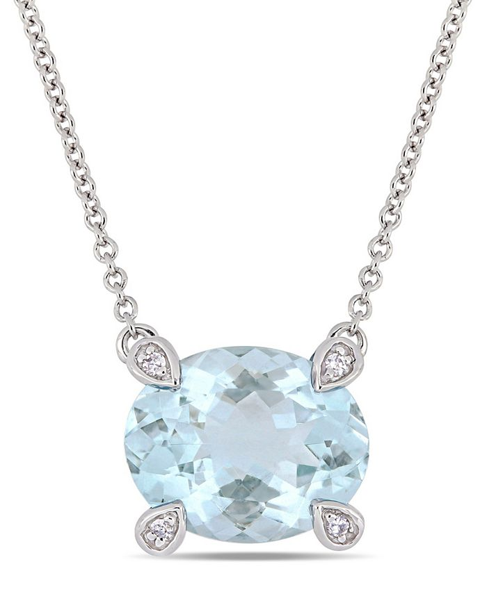 "Macy's - Aquamarine (2-1/10 ct. t.w.) and Diamond Accent 17"" Necklace in 10k White Gold"