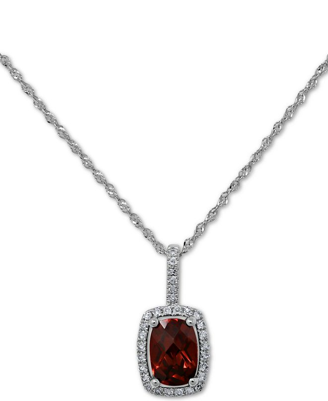 """Macy's Peridot (3/4 ct. t.w.) & Diamond (1/10 ct. t.w.) 18"""" Pendant Necklace in 14k White Gold (Also Available in Garnet and Blue Topaz)"""