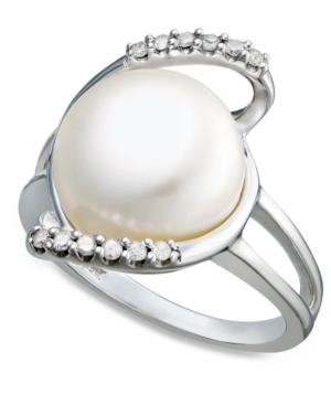 Sterling Silver Ring, Diamond (1/10 ct. t.w.) and Cultured Freshwater Button Pearl (11mm) Ring